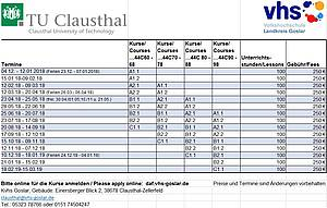 Dates german Language classes in Clausthal-Zellerfeld